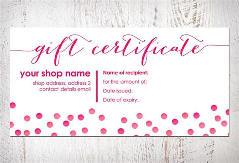 template romantic gift certificate template