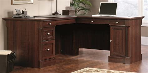 L Shaped Desk With Locking Drawers Palladia 65 W X 30 H Wooden L Shape Desk With Locking File Drawers Select Cherry 413670 By