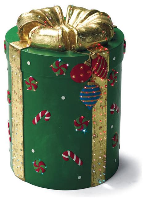 fiber optic christmas items green fiber optic gift box traditional decorations by frontgate