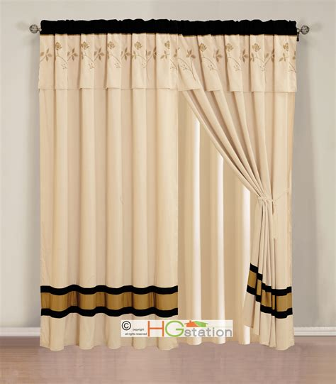 Black And Beige Curtains 4 Pc Verona Floral Embroidery Curtain Set Beige Black Gold Valance Sheer Ebay