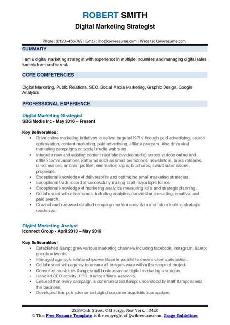 Seo Strategist Sle Resume by Digital Marketing Strategist Resume Sles Qwikresume