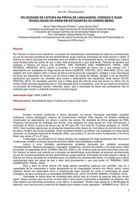 (PDF) VELOCIDADE DE LEITURA NA PROVA DE LINGUAGENS