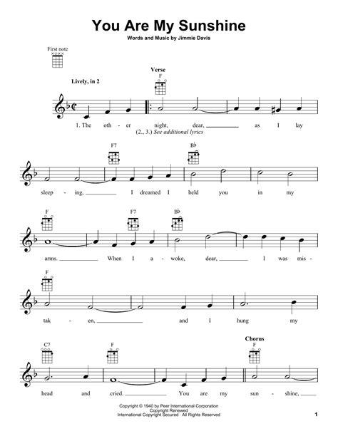 printable sheet music you are my sunshine you are my sunshine sheet music direct