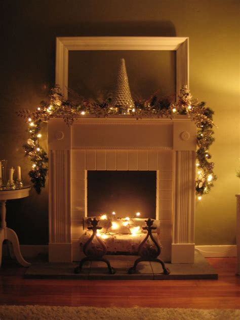 Faux Fireplace And Mantel In White 600 00 Via Etsy Lights In Fireplace