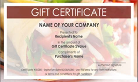 Mexican Restaurant Gift Certificate Templates Easy To Use Gift Certificates Mexican Certificate Template