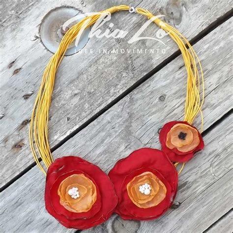 collane con fiori di stoffa collana multifili gialla con fiori di stoffa gioielli