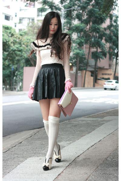Blouse Buble Polka white polka dots lace no brand blouses gum ans