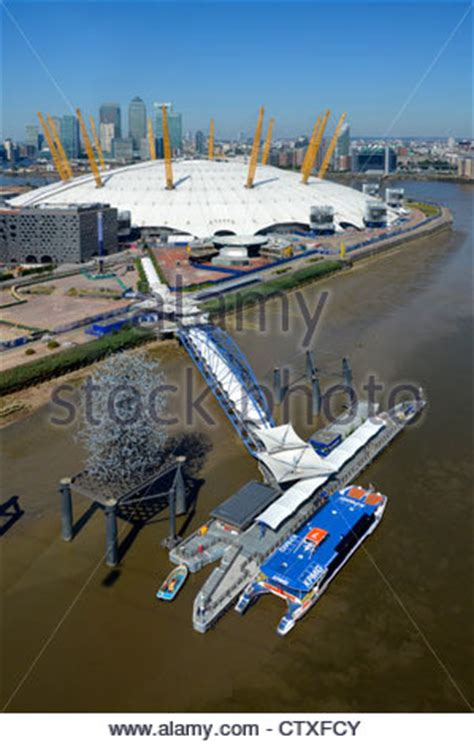 thames clipper to the 02 aerial view of the o2 arena 02 millenium dome with river
