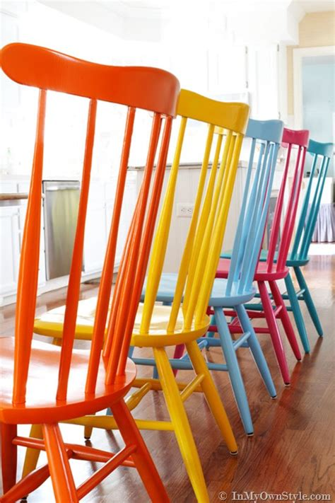 Kitchen Chairs Painted Different Colors by Furniture Makeover Spray Painting Wood Chairs In Own