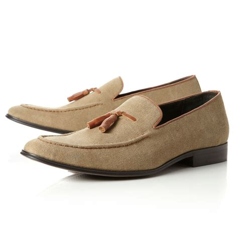 dune tassel loafers dune apparel canvas tassel loafers in beige for lyst