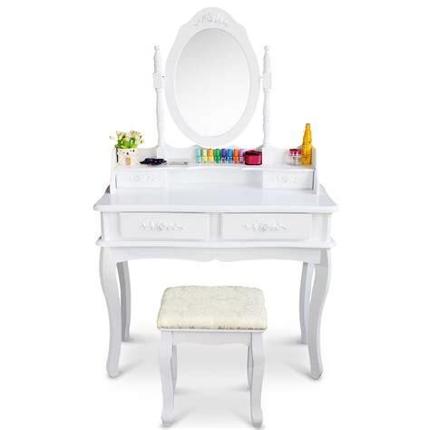 vanity set girls makeup dressing table stool mirror teen white vanity makeup dressing table set w stool 4 drawer