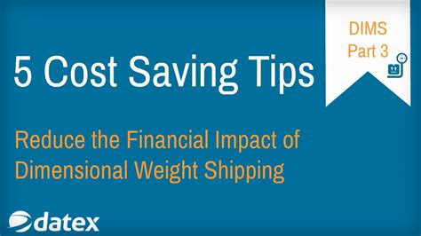 cost saving tips for a five cost saving tips for dimensional weight shipping with
