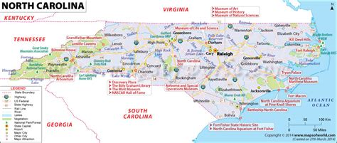 map of carolina cities carolina map showing the major travel attractions including cities points of interest