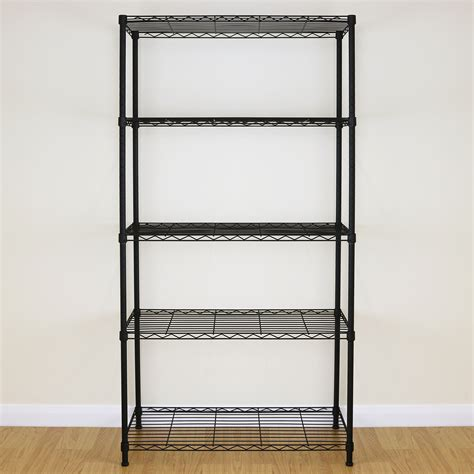 5 tier black metal storage rack shelving wire shelf