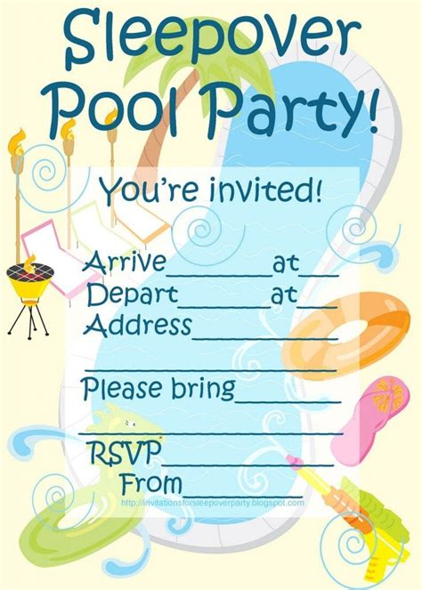 Swimming Party Invitations Templates Free