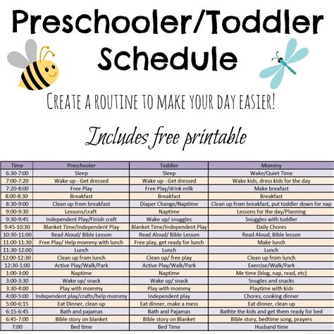 printable daily schedule for day care includes ideas and a free printable schedule for