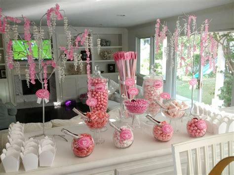 pink valentines day candy buffet for 30 12 year old girls