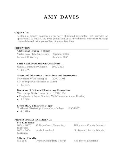 Resume Template Kindergarten by Professional Kindergarten Resume Template