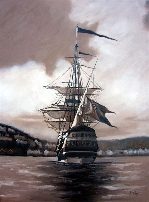 spray paint pirate ship ship in sepia painting by janet king