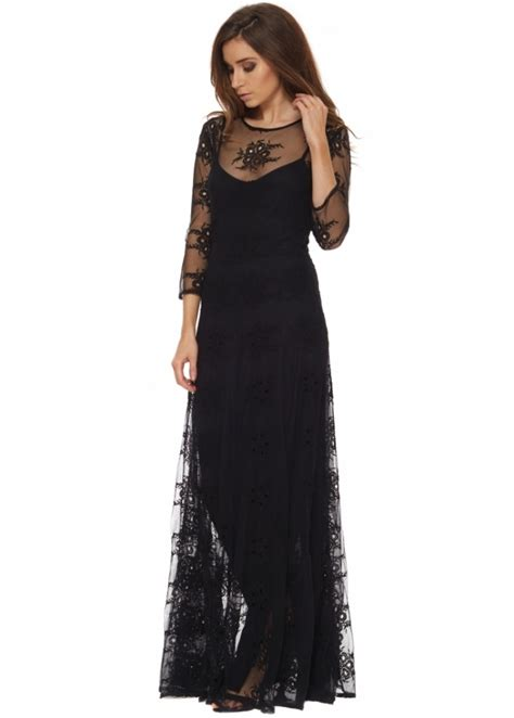 brigitte bardot eugenie dress black lace designer maxi dress