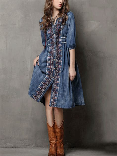 Denim Buttoned Embroidered Jacket buttoned front embroidered denim dress blue shein abaday