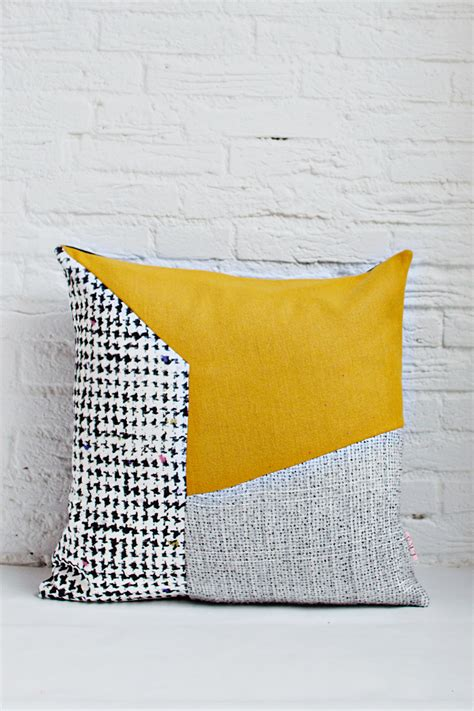 Handcrafted Cushions - handmade cushion cover grey mustard white shop