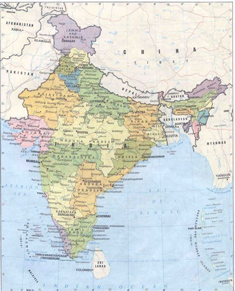 printable road map of india detailed political and administrative map of india india