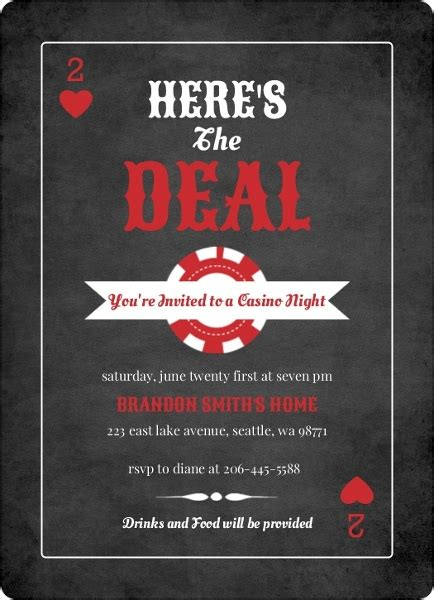 Black And Red Casino Chips Casino Night Invitation Poker Party Invitations Casino Theme Invitations Template Free