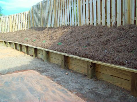 6x6 Wood Retaining Wall Pictures To Pin On Pinterest Wooden Garden Wall