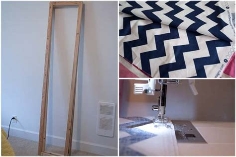 diy room divider dressing screen chevron fabric project - How To Build A Room Divider Screen