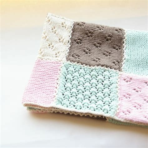 Knitted Patchwork Baby Blanket - knit baby blanket patch work lace knitting baby shower gift