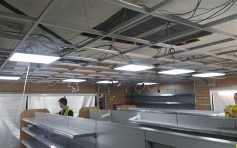 ceiling grid ceiling tiles led lights installed in
