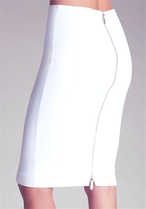 bebe zipper pencil skirt in white lyst
