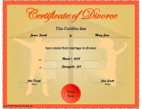 Divorce Records Ny Free A Celebratory Certificate Of Divorce Showing