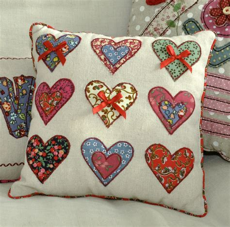 Patchwork Hearts - patchwork hearts cushion dotcomgiftshop