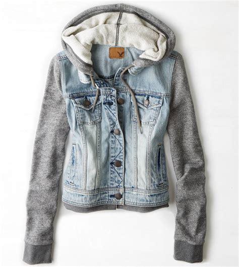 American Eagle Light Grey Original american eagle ae womens denim jean vest vested hooded