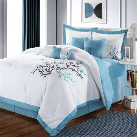 aqua and white bedding coral leaf blue aqua white king 8 piece comforter bed in