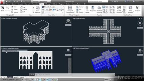 autocad tutorial working with layouts working with tiled viewports