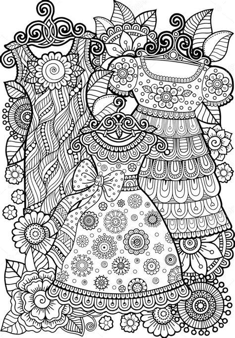 vintage dress coloring page libro de colorear vestido vintage vector de stock