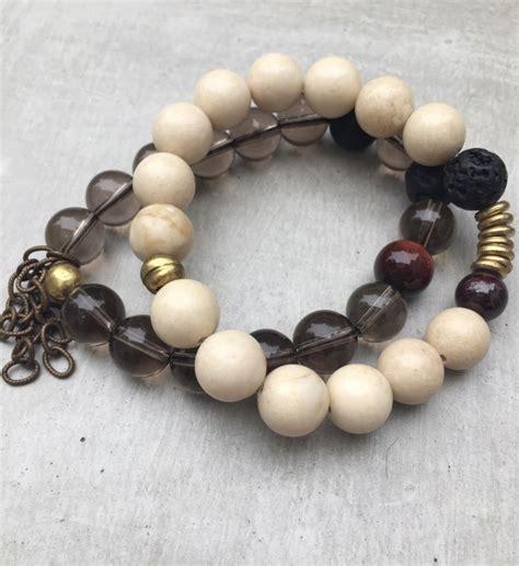 Modern Handmade Jewelry - smoky quartz bracelet set modern handmade jewelry