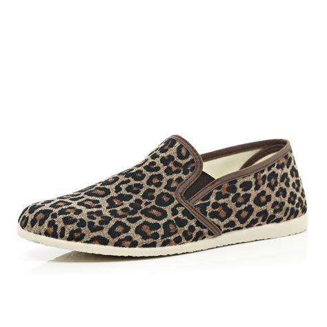 Sepatu Boots Island Slip On Brown river island brown leopard print slip on plimsolls in brown lyst