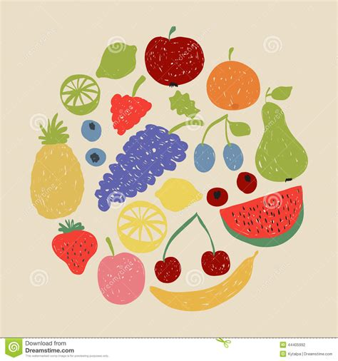 doodle fruit doodle fruit circle in retro colors stock vector image
