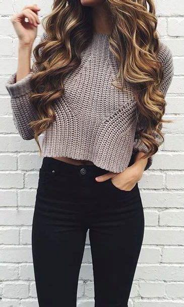 cute crop top sweater outfits  wear  winter