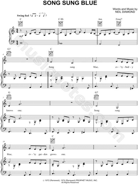 song sung blue neil diamond quot song sung blue quot sheet music in c major