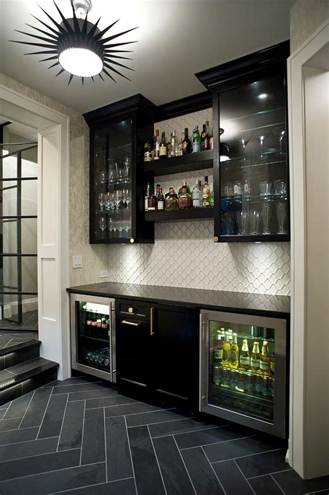 mini bar in the basement with slate herringbone tile