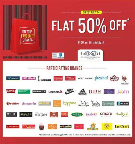 infinity mall andheri infiniti mall andheri flat 50 discount sale on 26 july