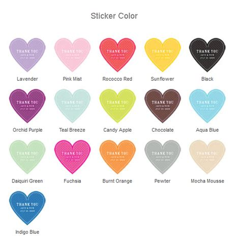 heart shaped quot thank you quot stickers heart shaped hang tag
