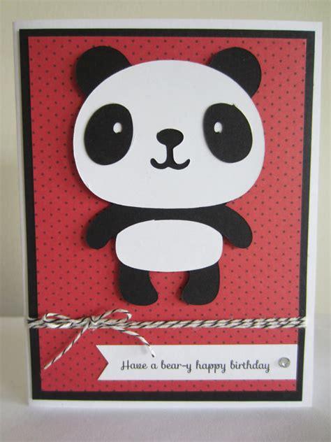 Panda Birthday Card Panda Birthday Card Die Cut Handmade Pun Punny Birthday Beary