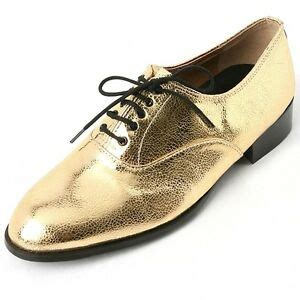 s lace up synthetic leather shiny gold oxfords low heel dress shoes us6 10 5 ebay