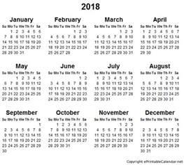 Calendrier 2018 To Print 2018 Free Printable Calendars Printable Calendar